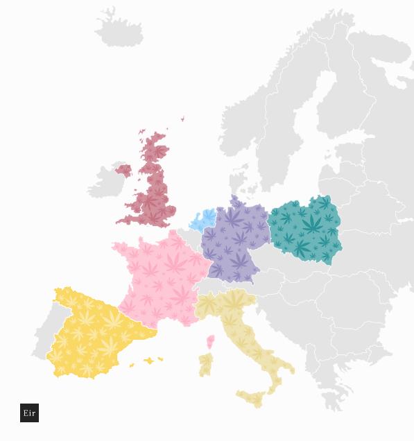 Kraje w Europie z największym doświadczeniem w uprawie konopii: Polska, Niemcy, wielka Brytania, Włochy, Hiszpania, Holandia, Francja - mapa
